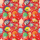 Fish on Red Background Pattern